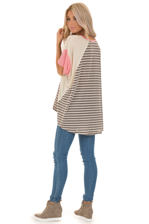 Charcoal and Cream Striped Color Block Short Sleeve Top back full body
