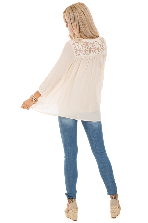 Cream 3/4 Sleeve Peasant Top with Lace Yoke and Tie back full body