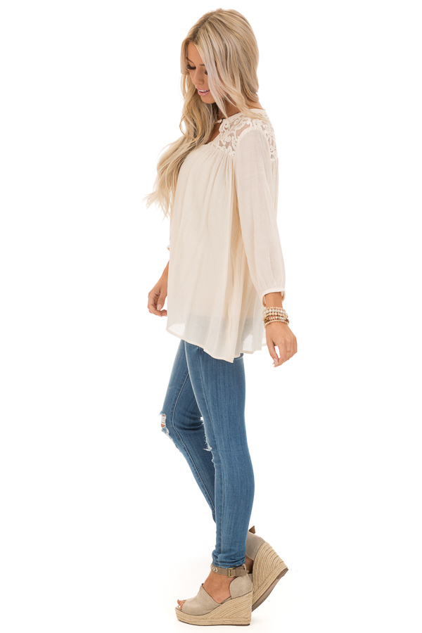 Cream 3/4 Sleeve Peasant Top with Lace Yoke and Tie side full body
