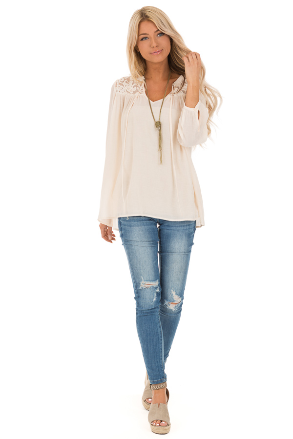 Cream 3/4 Sleeve Peasant Top with Lace Yoke and Tie front full body
