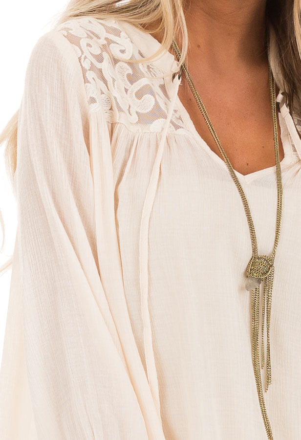 Cream 3/4 Sleeve Peasant Top with Lace Yoke and Tie back detail