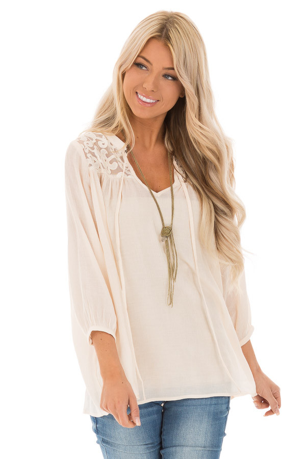 Cream 3/4 Sleeve Peasant Top with Lace Yoke and Tie front close up