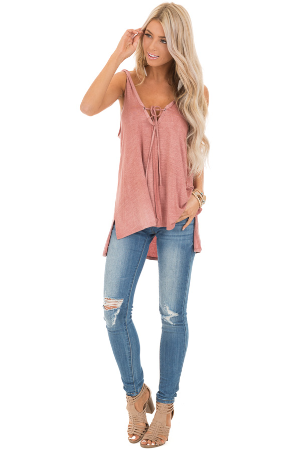 Dusty Rose Tank Top with Twisted Straps and Front Tie front full body