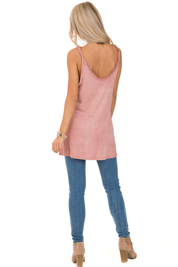 Dusty Rose Tank Top with Twisted Straps and Front Tie back full body