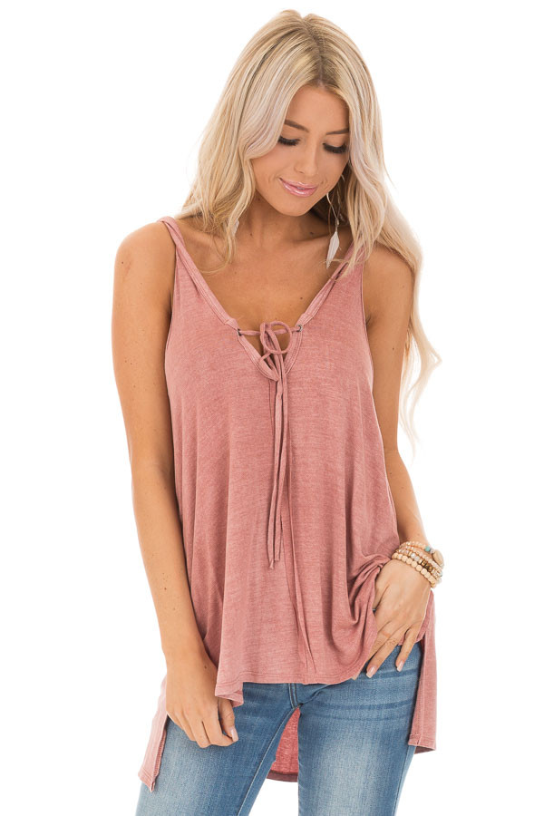 Dusty Rose Tank Top with Twisted Straps and Front Tie front close up