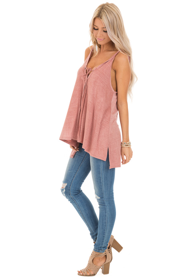 Dusty Rose Tank Top with Twisted Straps and Front Tie side full body