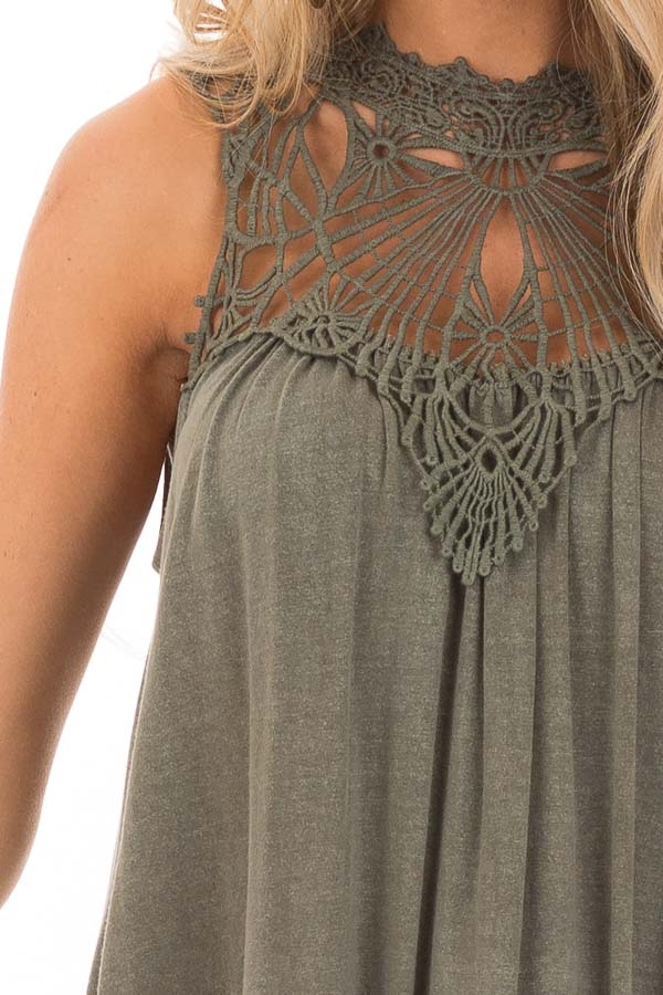 Army Green Sheer Crochet Lace Loose Fit Top detail