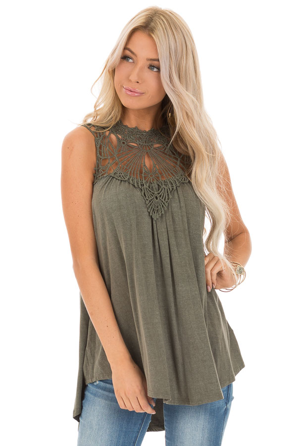 Army Green Sheer Crochet Lace Loose Fit Top front close up