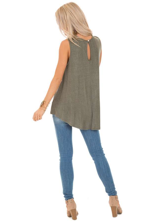 Army Green Sheer Crochet Lace Loose Fit Top back full body