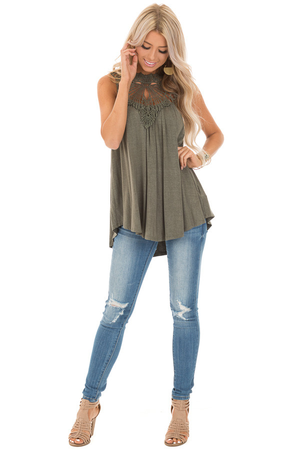 Army Green Sheer Crochet Lace Loose Fit Top front full body