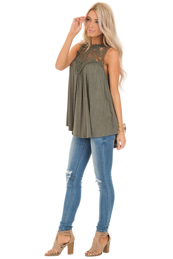 Army Green Sheer Crochet Lace Loose Fit Top side full body