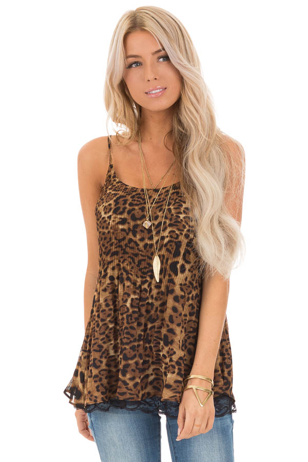 Leopard Print Camisole Tank with Obsidian Lace Detail front close up
