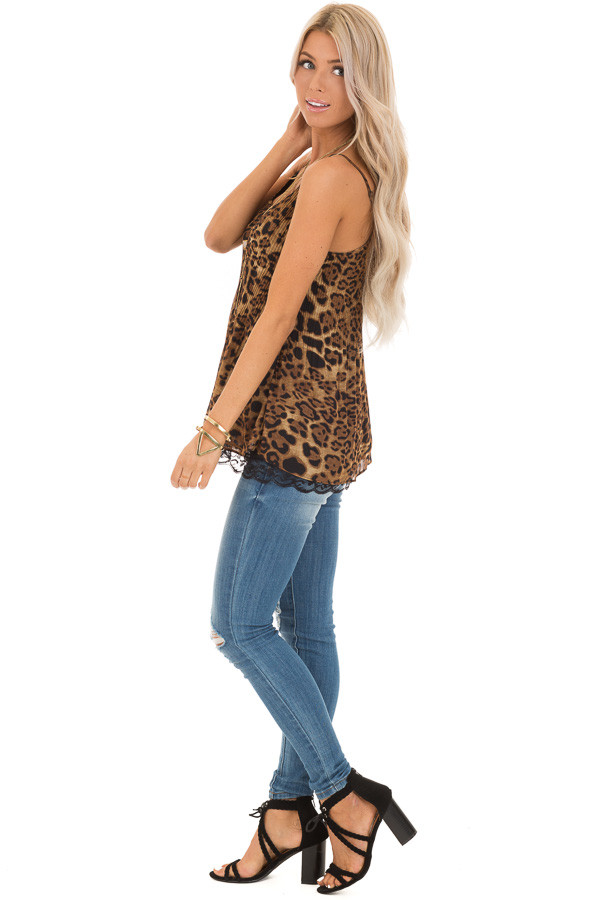 Leopard Print Camisole Tank with Obsidian Lace Detail side full body