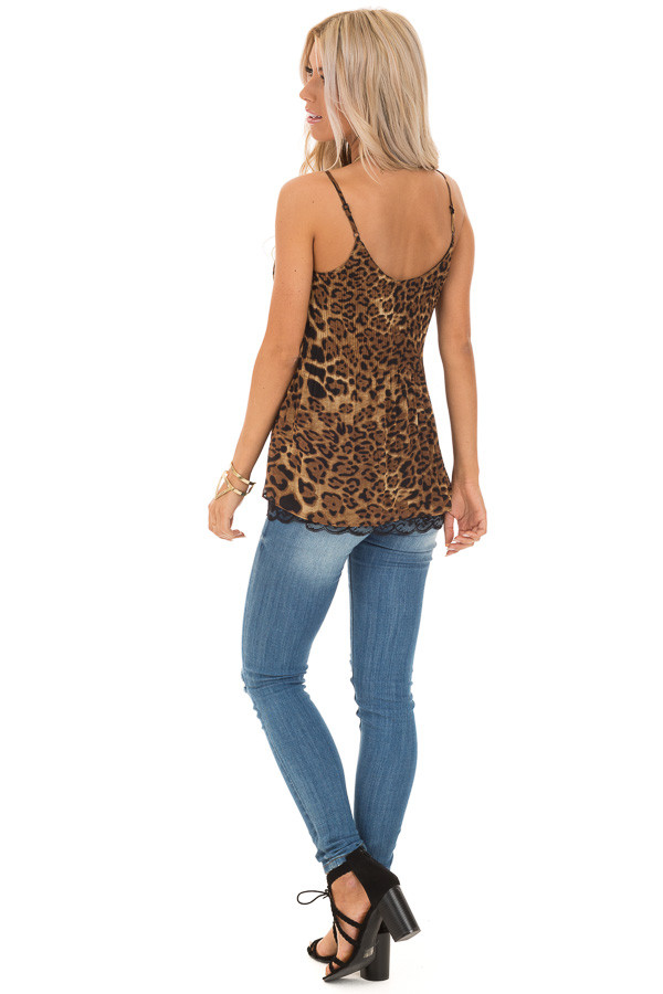 Leopard Print Camisole Tank with Obsidian Lace Detail back full body