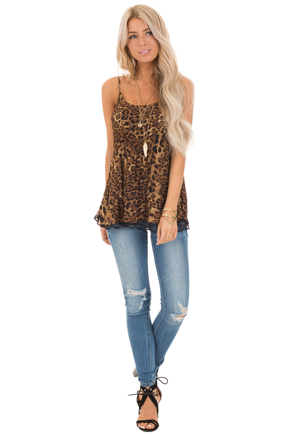 Leopard Print Camisole Tank with Obsidian Lace Detail front full body