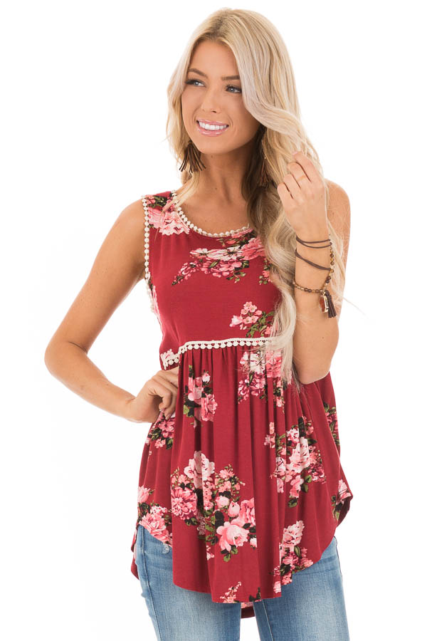 Sangria and Floral Sleeveless Babydoll Top with Crochet Trim front close up