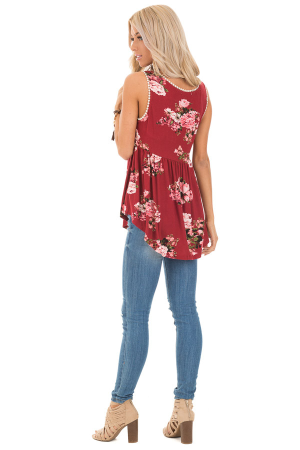 Sangria and Floral Sleeveless Babydoll Top with Crochet Trim back full body