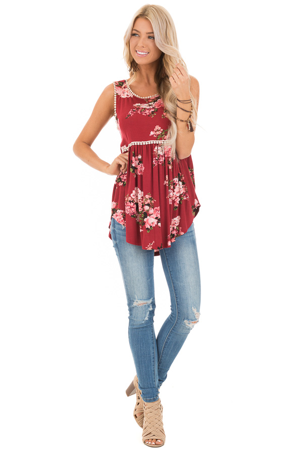 Sangria and Floral Sleeveless Babydoll Top with Crochet Trim front full body