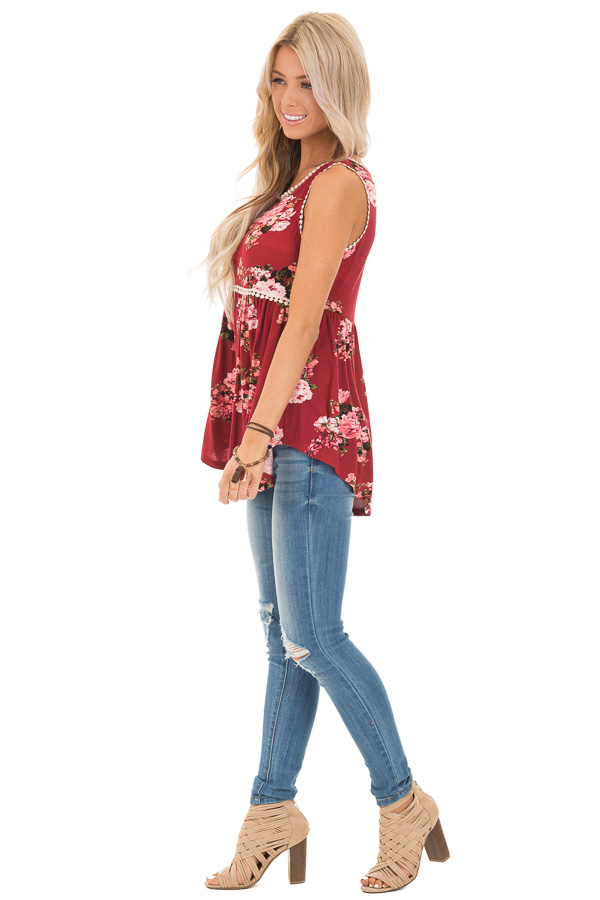 Sangria and Floral Sleeveless Babydoll Top with Crochet Trim side full body