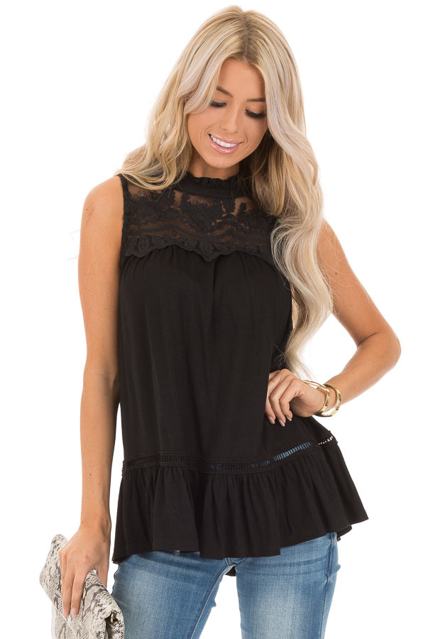 Black Sleeveless Top with Ruffle and Lace Details front close up