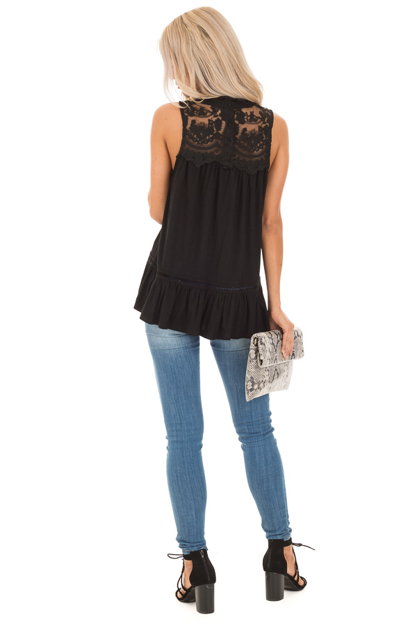 Black Sleeveless Top with Ruffle and Lace Details back full body