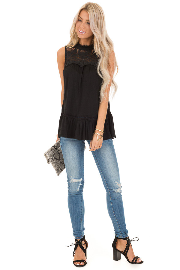 Black Sleeveless Top with Ruffle and Lace Details front full body