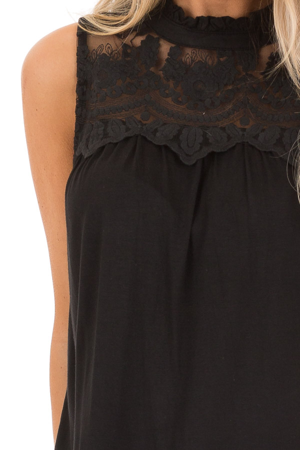 Black Sleeveless Top with Ruffle and Lace Details detail