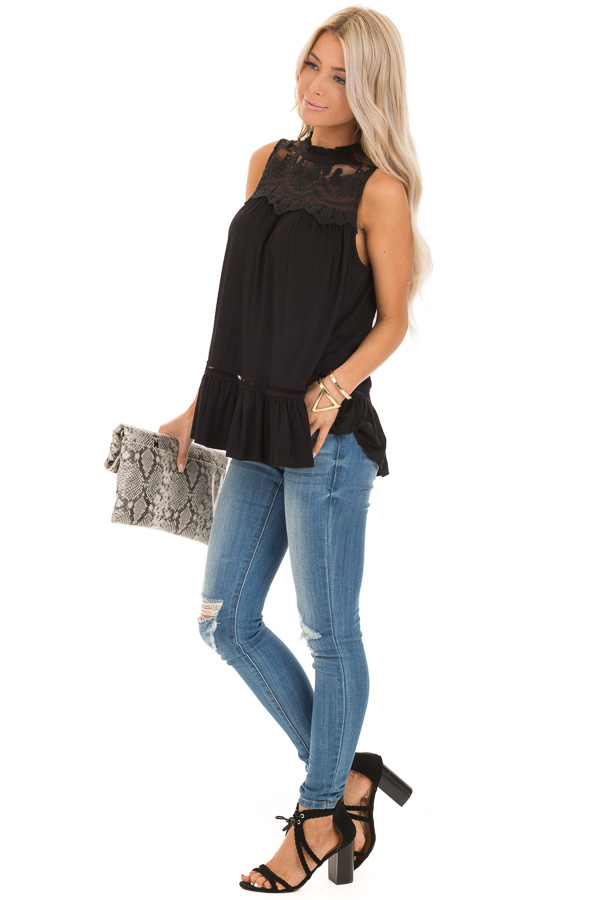 Black Sleeveless Top with Ruffle and Lace Details side full body