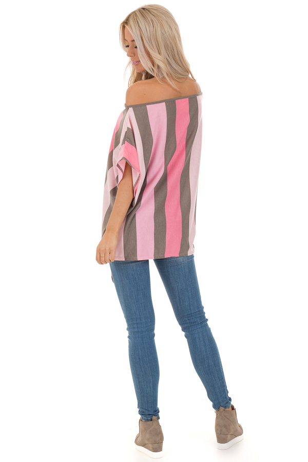 Bubblegum Pink Striped Off the Shoulder Top with Front Tie back full body