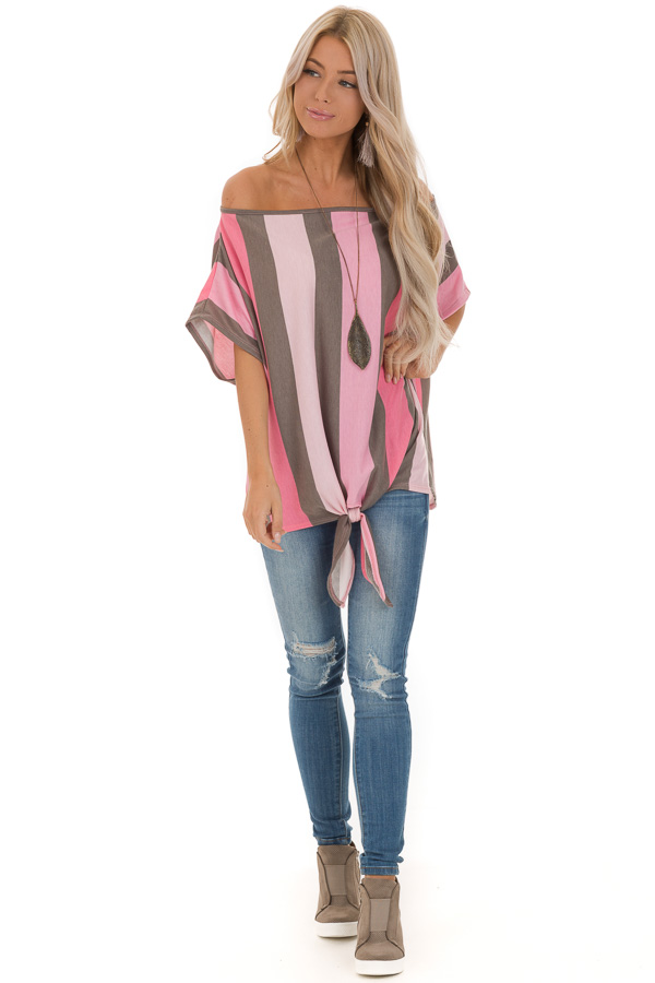 Bubblegum Pink Striped Off the Shoulder Top with Front Tie front full body