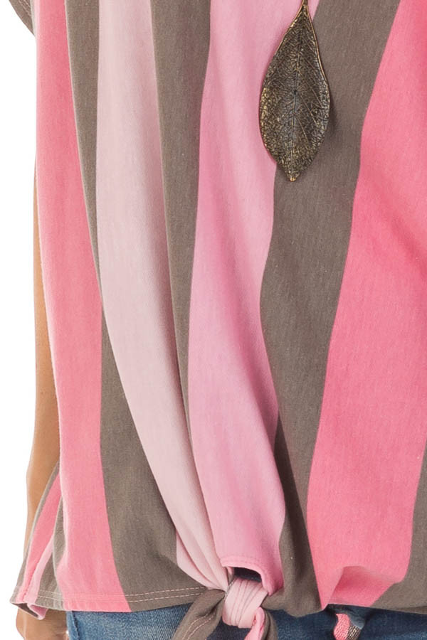 Bubblegum Pink Striped Off the Shoulder Top with Front Tie detail