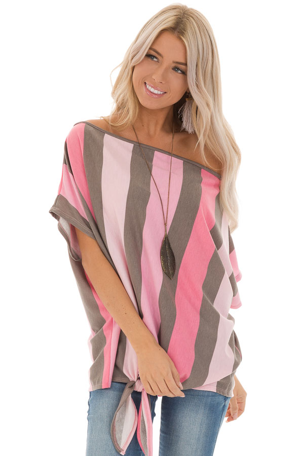 Bubblegum Pink Striped Off the Shoulder Top with Front Tie front close up