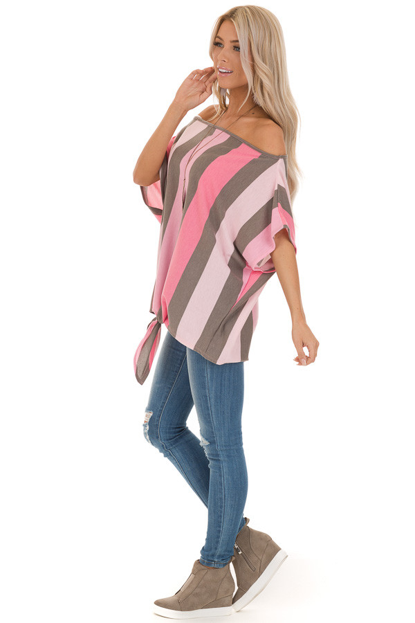 Bubblegum Pink Striped Off the Shoulder Top with Front Tie side full body