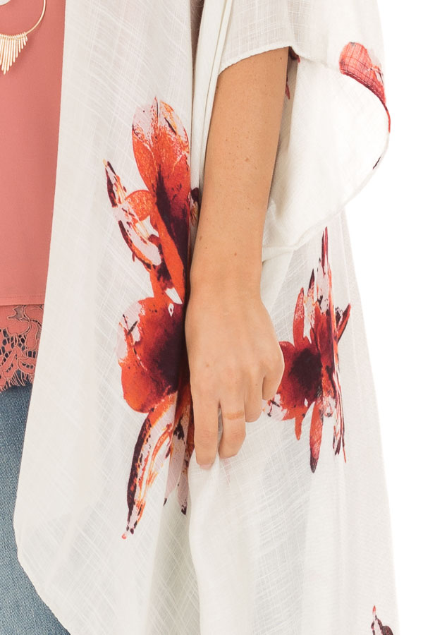 Ivory and Rust Floral Print Long Linen Kimono detail