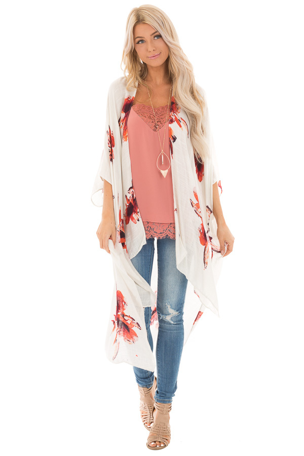 Ivory and Rust Floral Print Long Linen Kimono front full body
