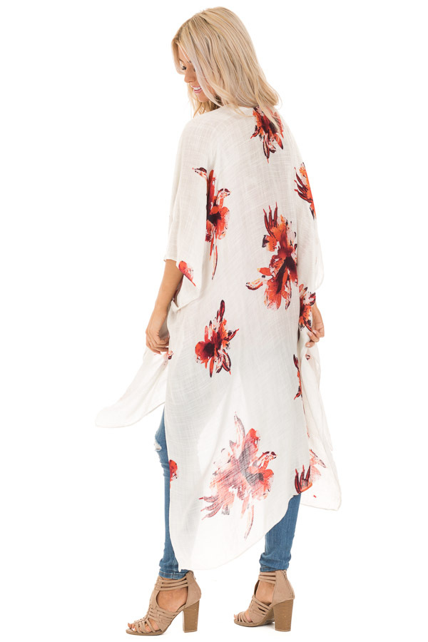 Ivory and Rust Floral Print Long Linen Kimono side full body