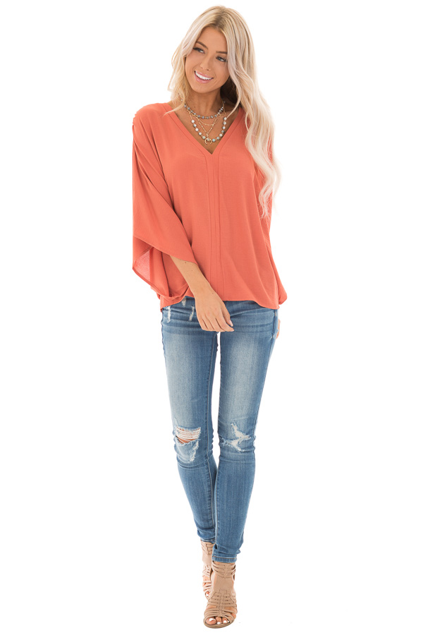 Dark Coral Loose Fit V Neck Batwing Top front full body