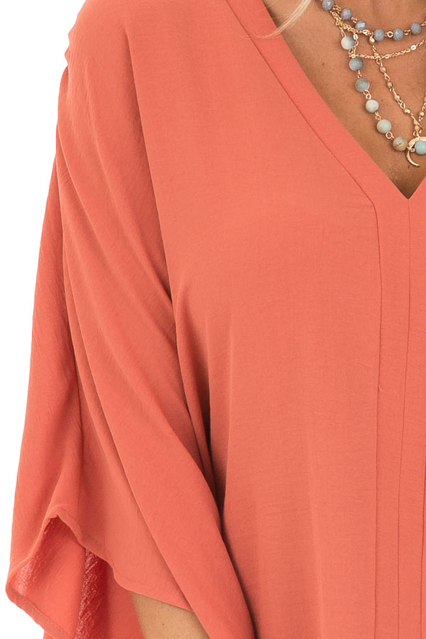 Dark Coral Loose Fit V Neck Batwing Top detail