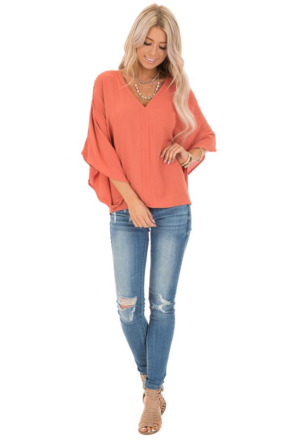 02805411780579 Dark Coral Loose Fit V Neck Batwing Top - Lime Lush Boutique