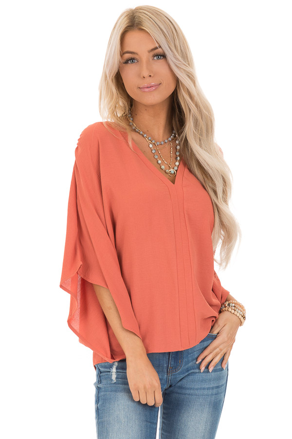 Dark Coral Loose Fit V Neck Batwing Top front close up