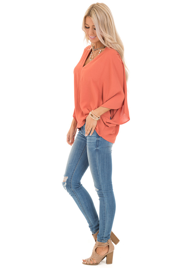 Dark Coral Loose Fit V Neck Batwing Top side full body