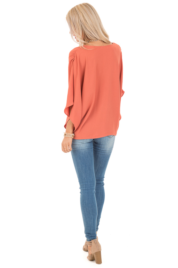 Dark Coral Loose Fit V Neck Batwing Top back full body