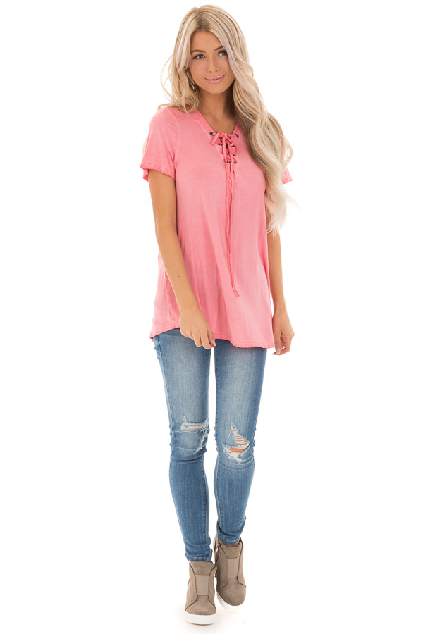 Watermelon Pink V Neck Top with Drawstring Neckline front full body