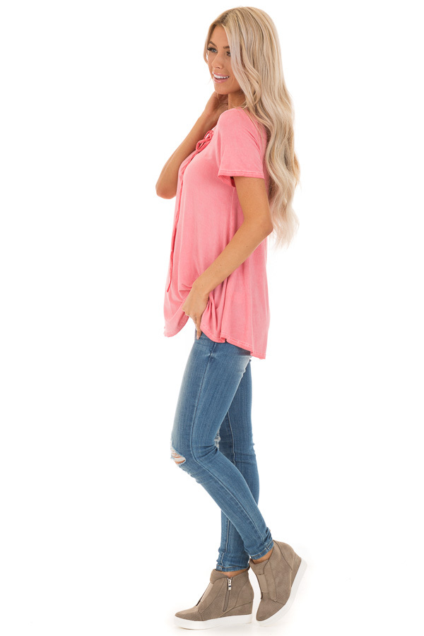 Watermelon Pink V Neck Top with Drawstring Neckline side full body