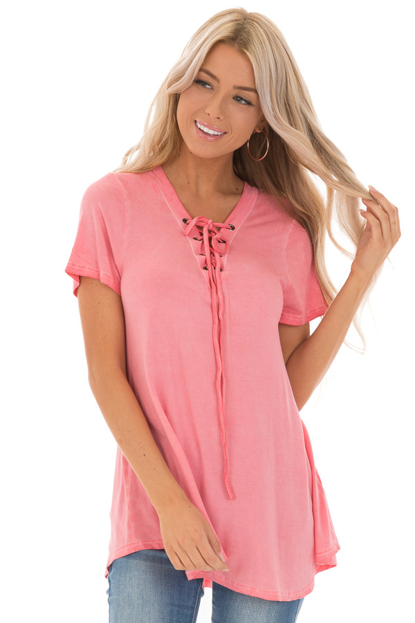 Watermelon Pink V Neck Top with Drawstring Neckline front close up