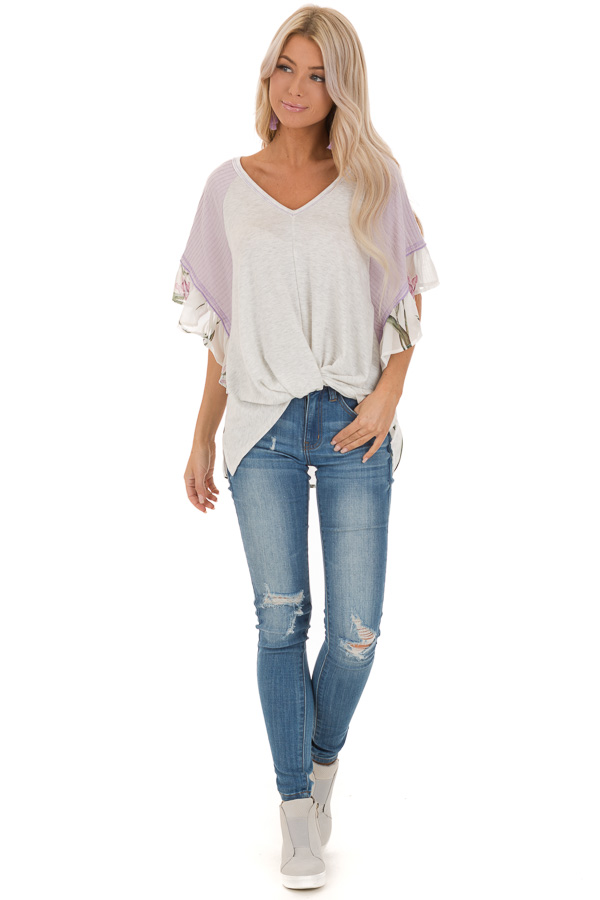 Heather Grey and Lavender Floral Top with Front Twist front full body