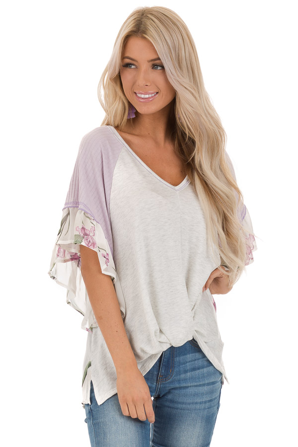 Heather Grey and Lavender Floral Top with Front Twist front close up