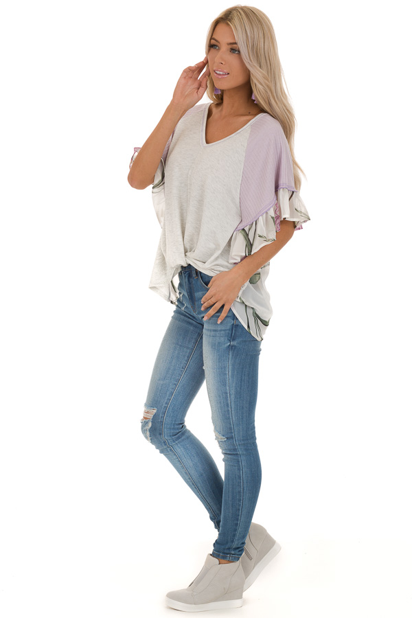 Heather Grey and Lavender Floral Top with Front Twist side full body