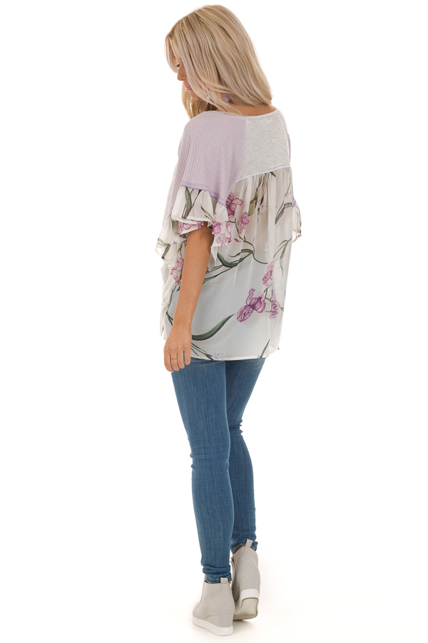 Heather Grey and Lavender Floral Top with Front Twist back full body