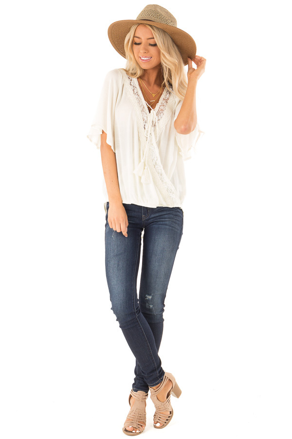 Cream Lace Surplice Top with Front Tassel Tie front full body